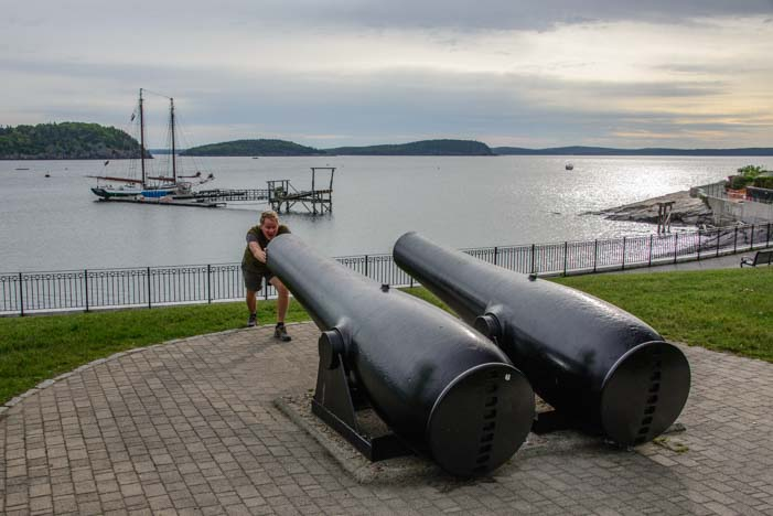 Cannons and schooner Bar Harbor Maine