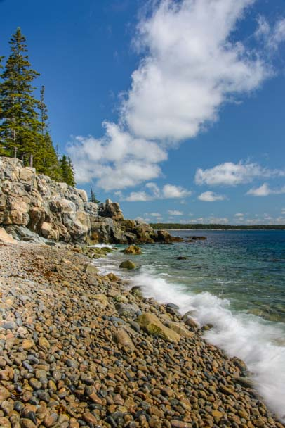 Rocky beach coast of Maine Acadia National park