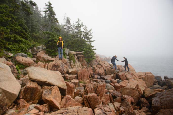 Climbing on the rocks at Bass Harbor Lighthouse Mt. Desert Island Maine
