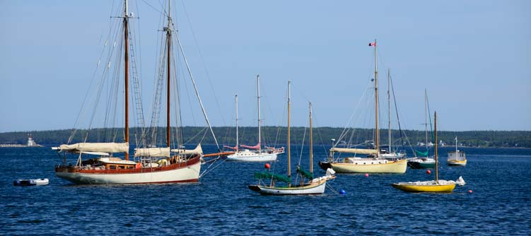 Sailboats at anchor Lunenburg Nova Scotia Canada
