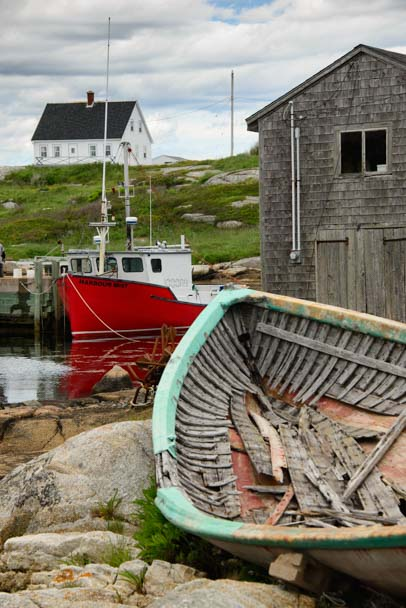Old dory and fishing boat Peggy's Cove Nova Scotia
