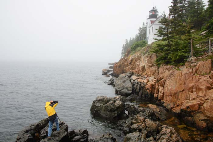 Taking photos of Bass Harbor Lighthouse Mt. Desert Island Maine