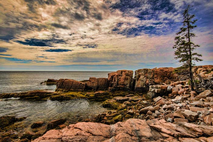 Dramatic sky Acadia National Park Maine