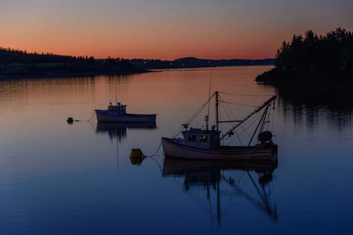 Lobster boats at dawn Lubec Maine
