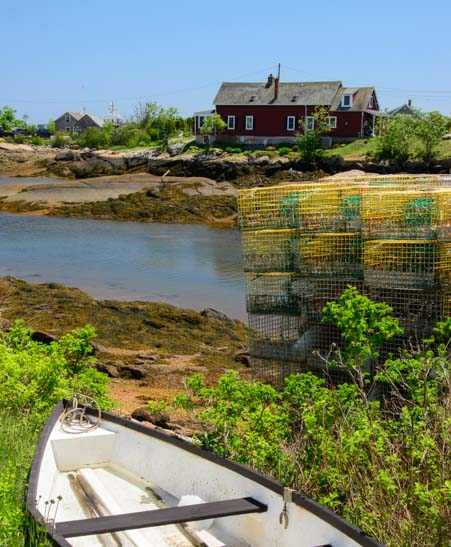 Skiff and lobster pots Prospect Harbor Maine