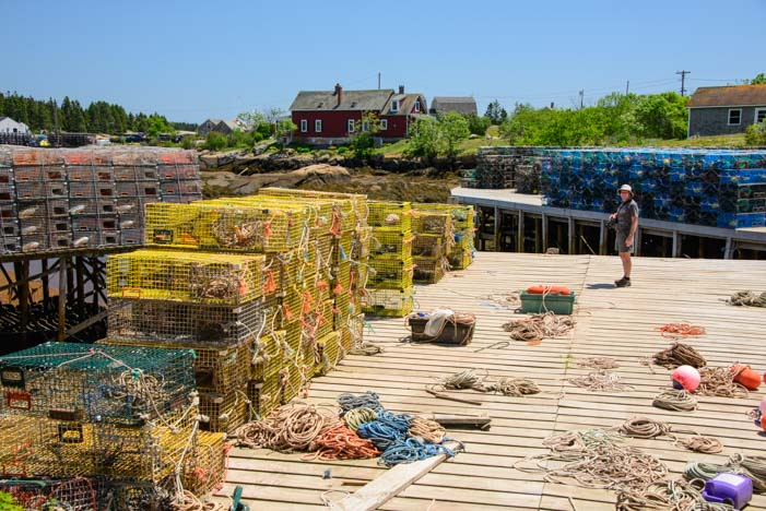 Lobster pots and line on the docks at Prospect Harbor Maine