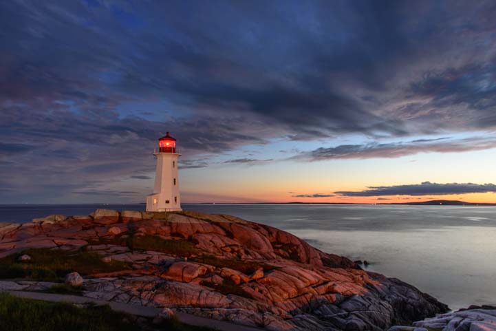 Peggy's Cove Lighthouse Nova Scotia Dusk