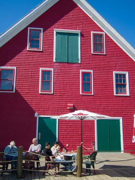 Red dock building Lunenburg Nova Scotia