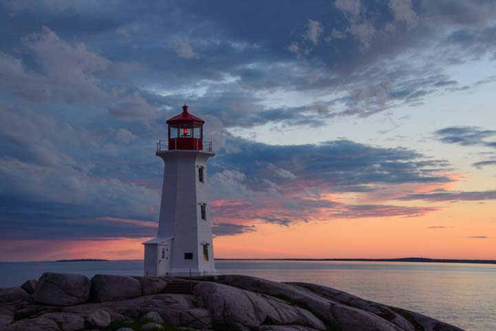 Sunset Peggy's Cove Lighthouse Nova Scotia