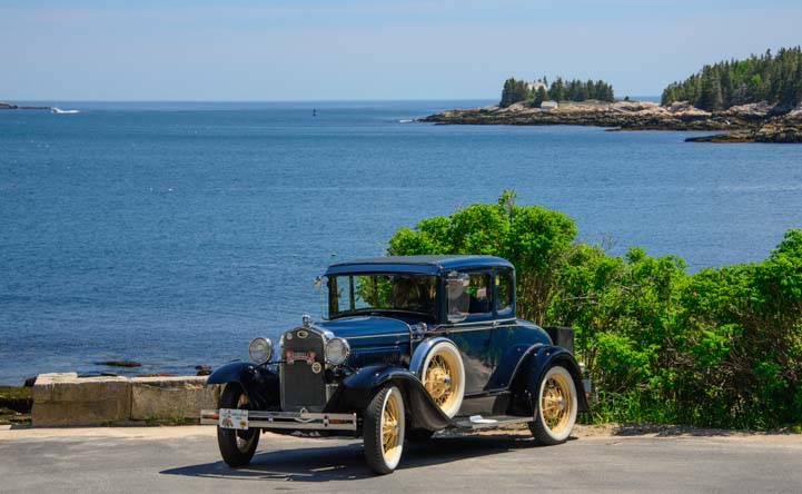 Ford Model A car parked at Schoodic Point Maine Acadia National Park
