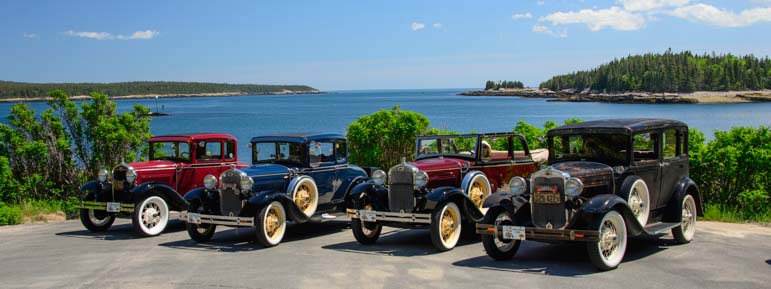 Four Ford Model A cars Grindstone Neck Winter Harbor Maine