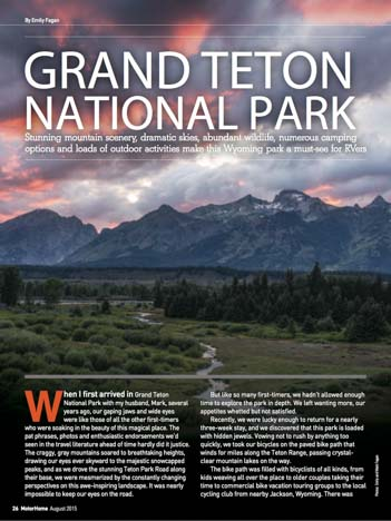 Grand Teton National Park Motorhome Magazine Article by Emily Fagan