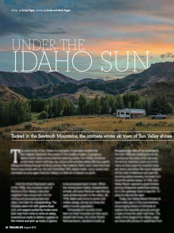 Trailer Life Magazine Feature Sun Valley Idaho August 2015 by Emily Fagan