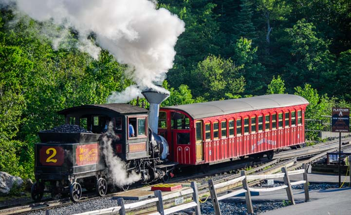 Coal fired steam engine Cog Railway Mt Washington