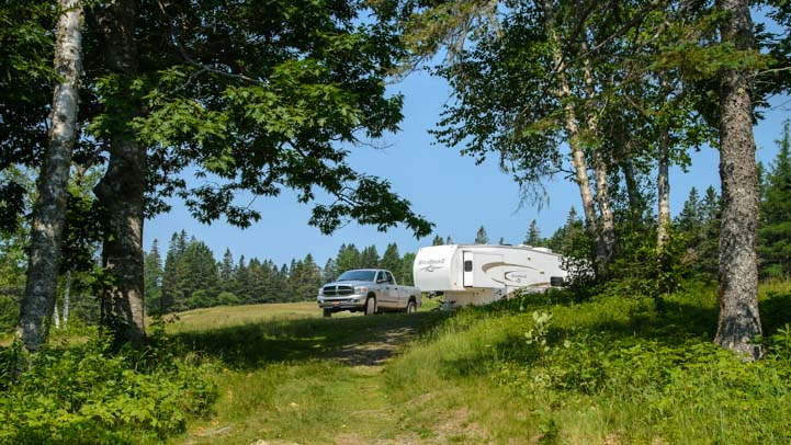 Fifth wheel RV in the Maine woods