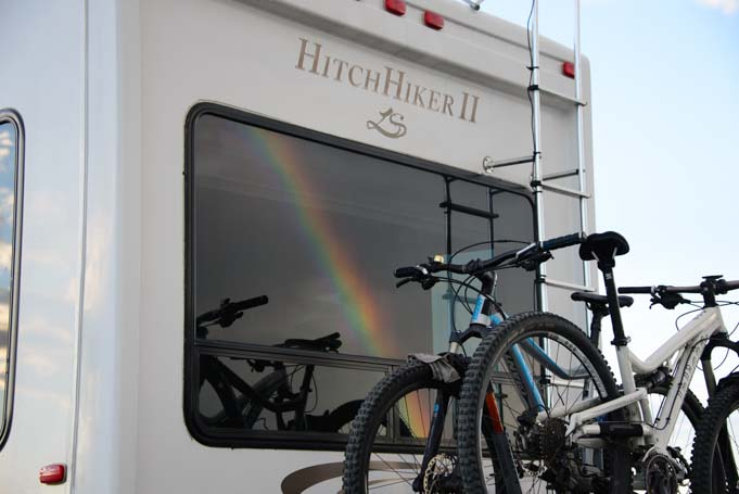 Rainbow on fifth wheel trailer