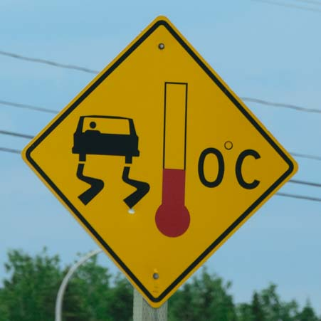 Bridge Freezes Road Sign Canada