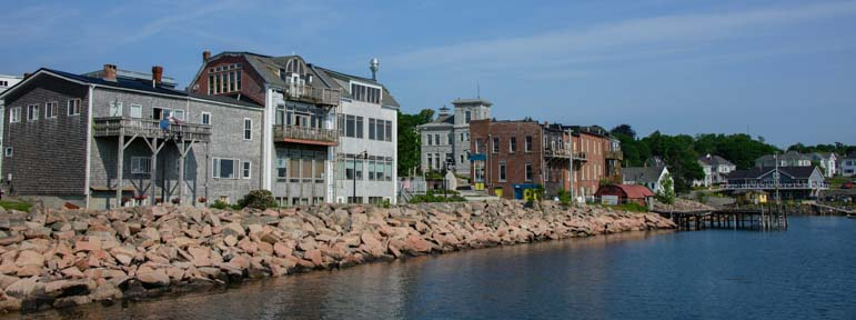 Buildings on the shore Eastport Maine