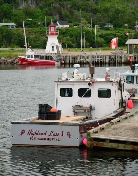 Boats Pleasant Bay Harbor Cape Breton Island Nova Scotia