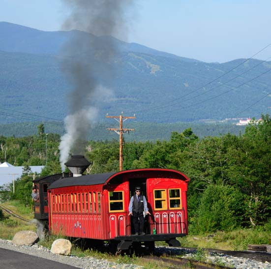 Mt Washington Cog Rail train chugs uphill