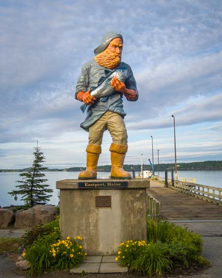 Fisherman statue in Eastport Maine