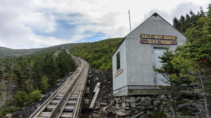 Cog train tracks and halfway house Mt Washington New Hampshire