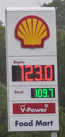 Gas and Diesel prices New Brunswick Canada