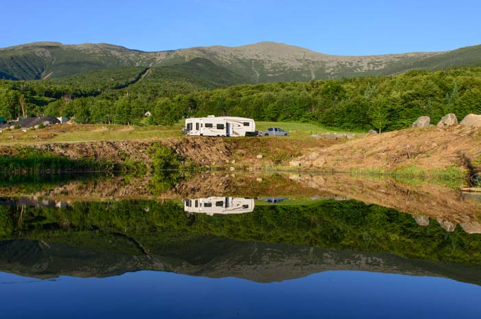 RV camped in Mt Washington National Forest