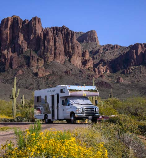 RV camping at public state park campground_
