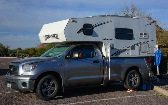 Half-ton pickup truck camper RV