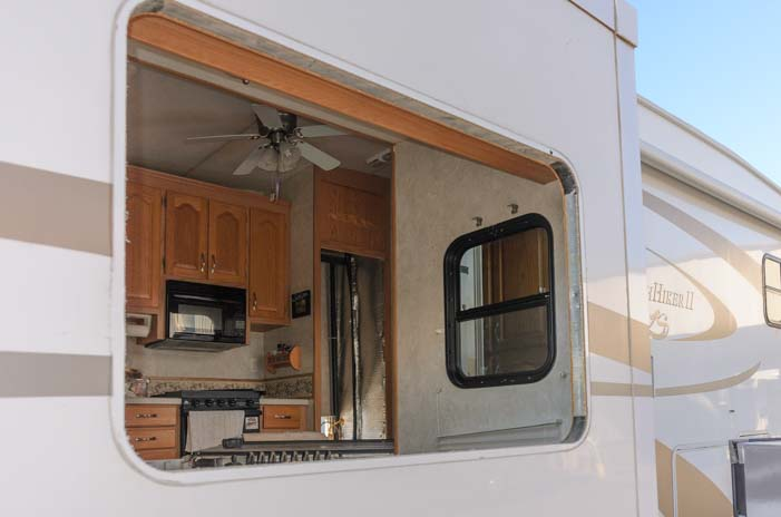 RV extended warranty repair RV window removed