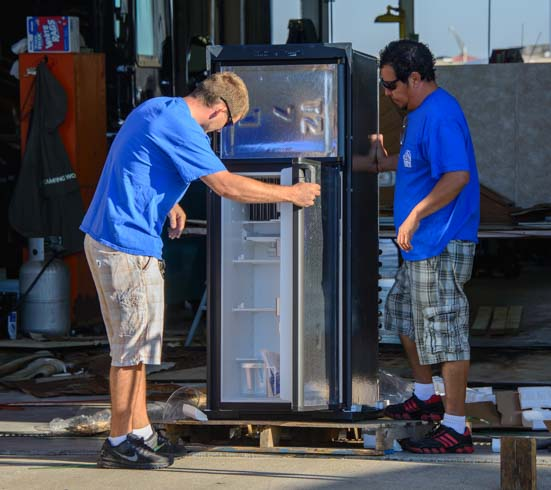 New RV fridge ready for installation