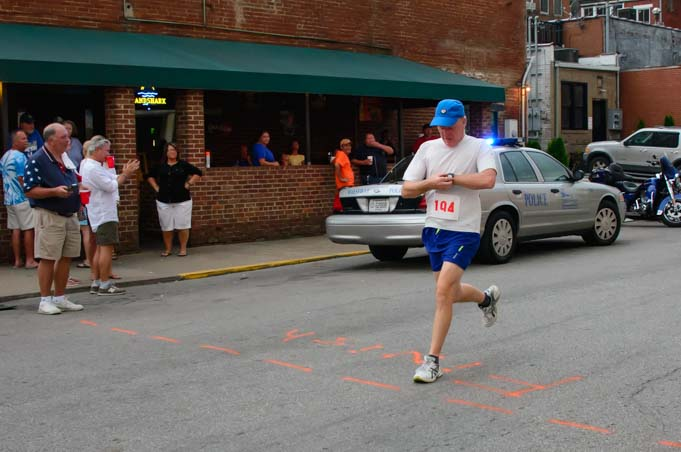 Finishing the 5k race in Maysville Kentucky