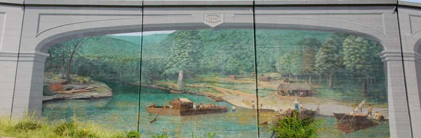 Maysville Kentucky floodwall mural early settlement