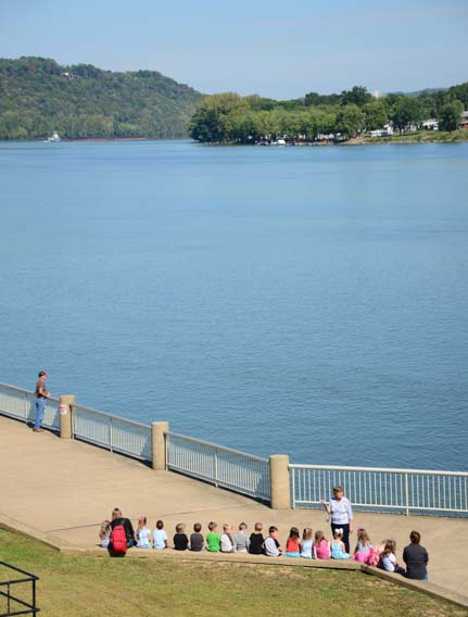School class on the Ohio River bank Maysville Kentucky