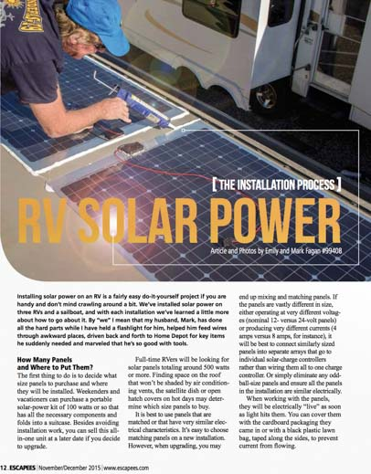 RV Solar Power Installation Tips