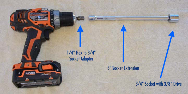 "18 volt cordless drill, 8"" extension and socket for RV scissor jacks"