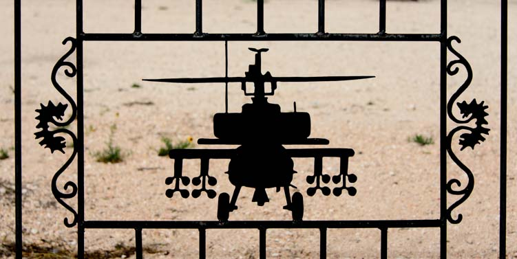Military helicopter metal art fence Tatum New Mexico