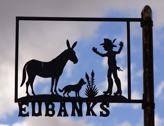Metal art sign Eubanks St Tatum New Mexico
