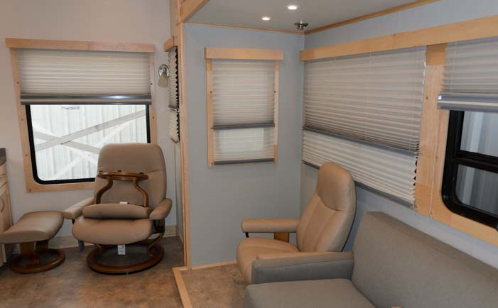 RV living room Space Craft custom fifth wheel trailer