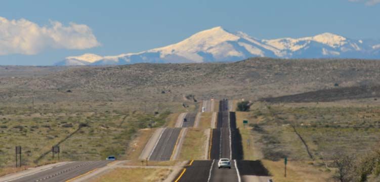 New Mexico snow capped mountains US-380