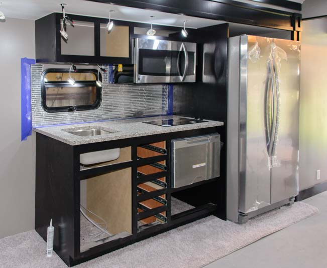Space Craft Manufacturing custom kitchen 53' fifth wheel trailer RV