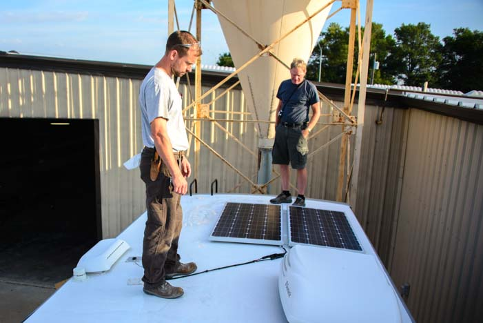 Solar panels on a Space Craft custom fifth wheel RV