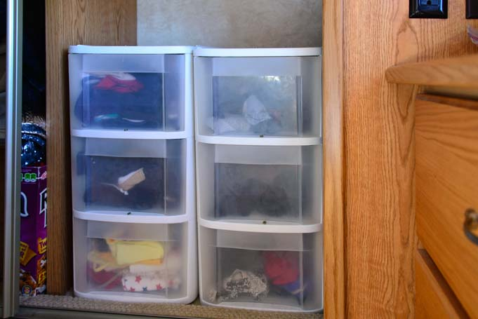 RV closet plastic drawer organizer