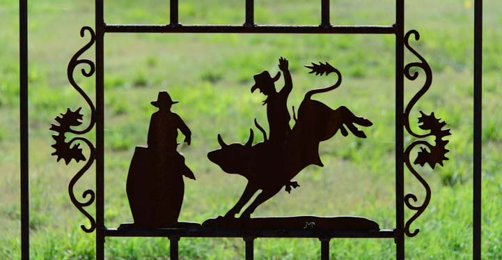 Bronco wrought iron fence metal art Tatum New Mexico