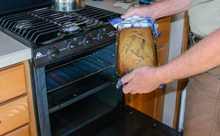 How to stay warm in an RV baking muffins