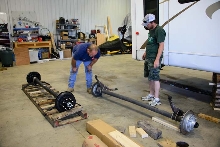 Trailer axle replacement on an RV