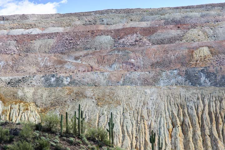 Saguaro cactus next to an Arizona copper mine