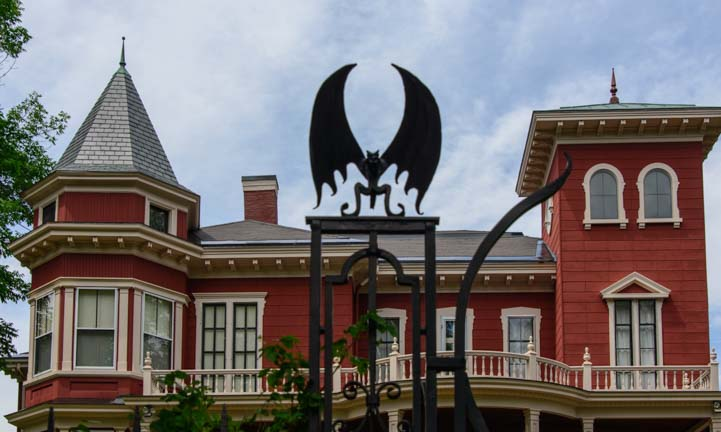 Steven King house Bangor Maine bat and gargoyle gate