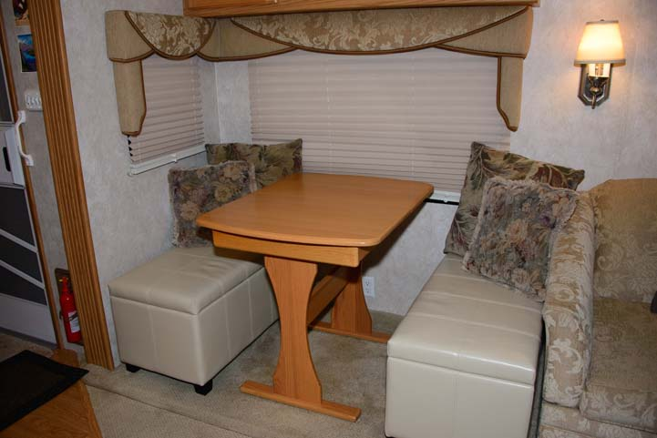 Storage benches in RV dinette